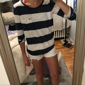 Hollister Quarter Length Striped Tee